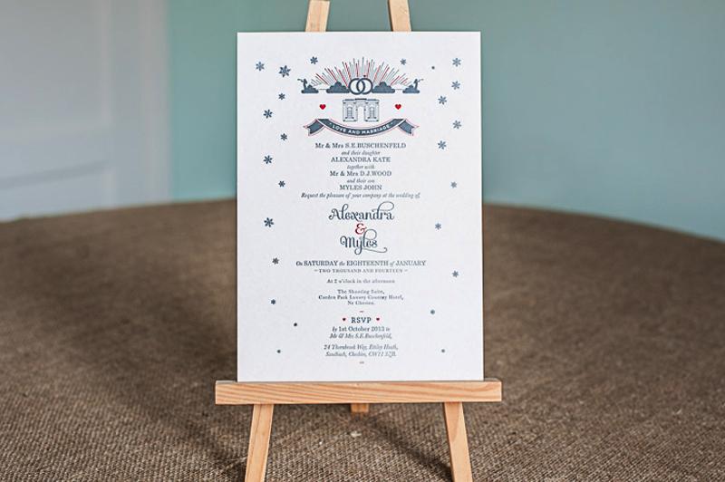 Letterpressed wedding invitation