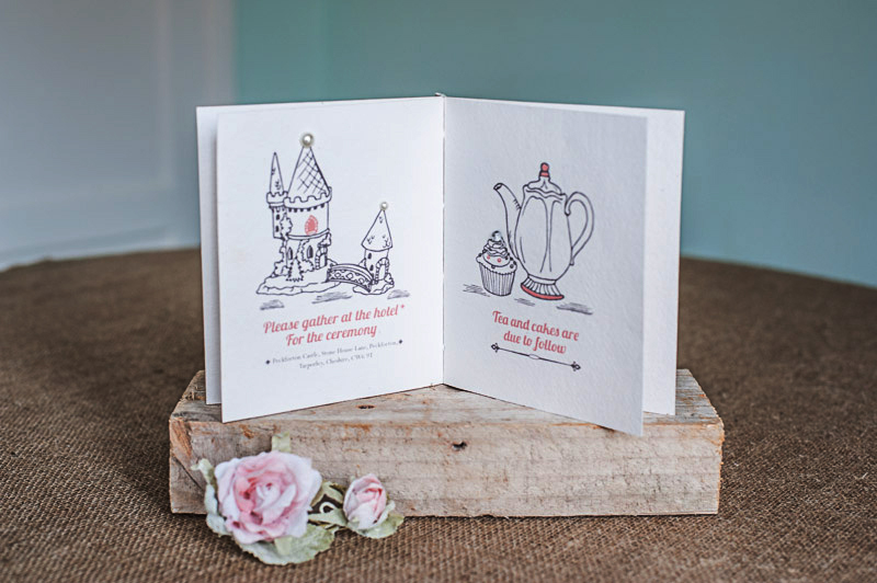 Wedding Storybook invite hand bound double page spread