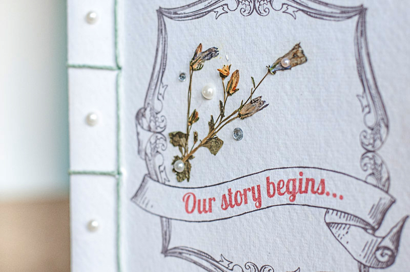 Wedding Storybook invite hand bound close up cover