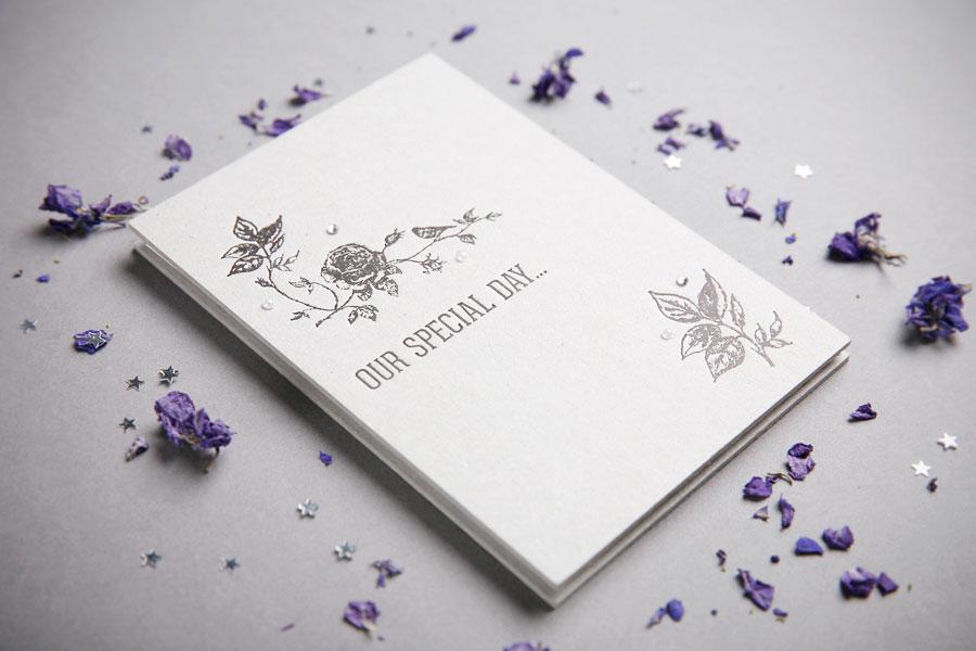 letterpress concertina fold wedding invitation