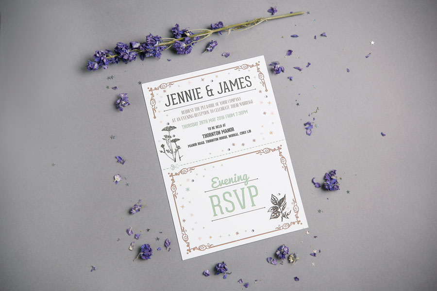 letterpress concertina fold wedding invitation