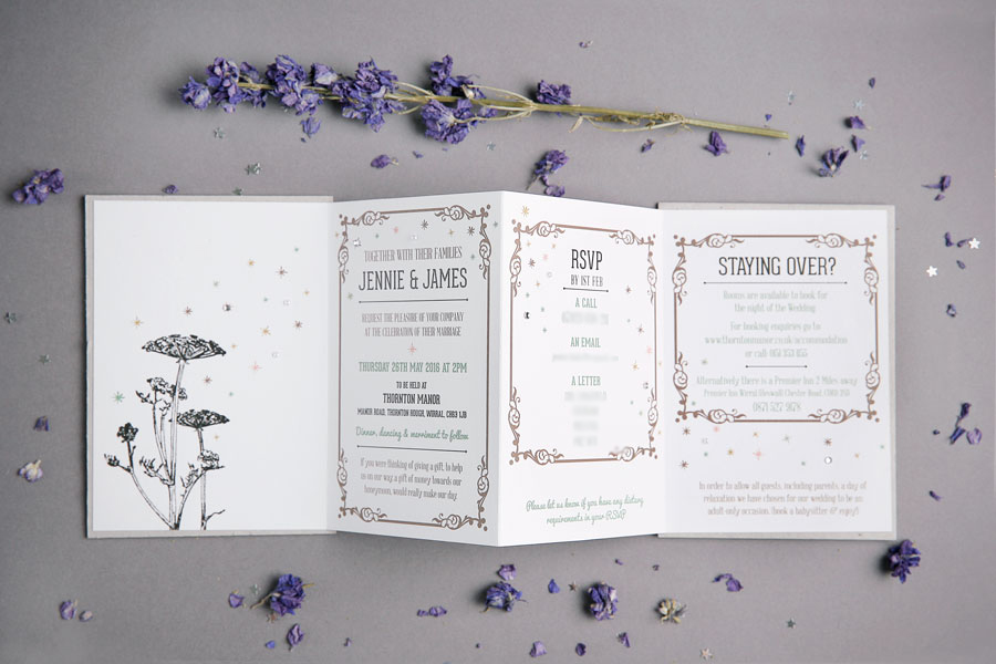 Woodland Inspired Concertina Wedding Invitation with Letterpress Covers