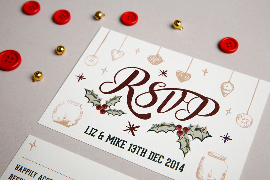 Wedding invitation Two parts Christmas themeTo and From – Wedding Invitations Christmas Theme