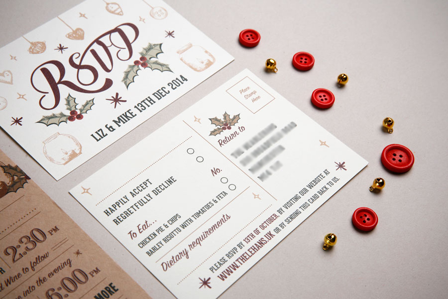 Christmas wedding invitation RSVP Card