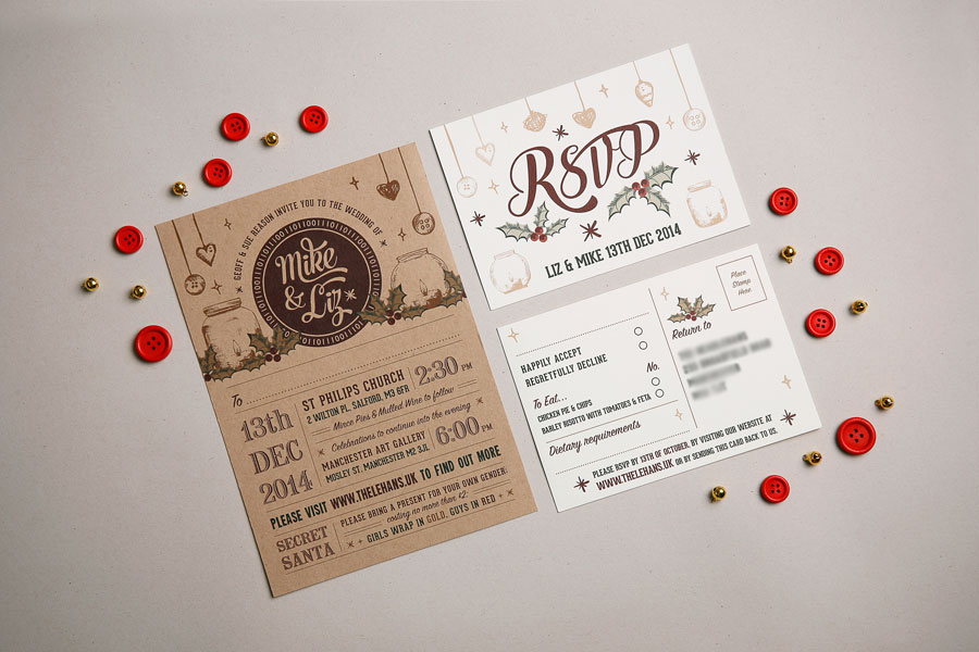 Two Part Wedding Invitation – Christmas Themed