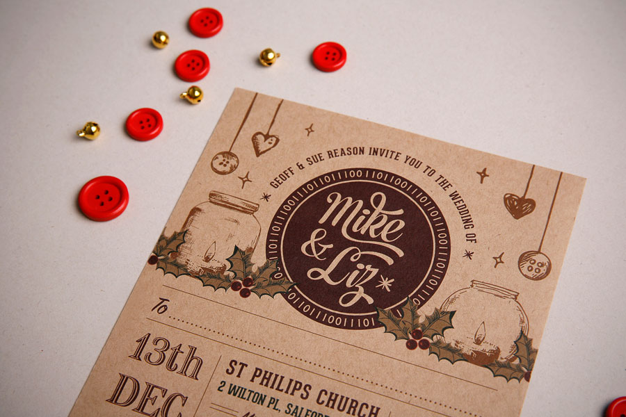 Parts Of Wedding Invitation: Christmas ThemeTo And From