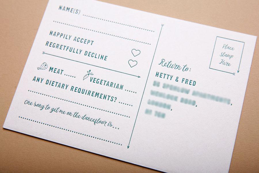 Letterpress RSVP postacrd