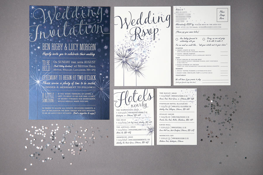 Sparkly 3 Card Wedding Invitation Suite