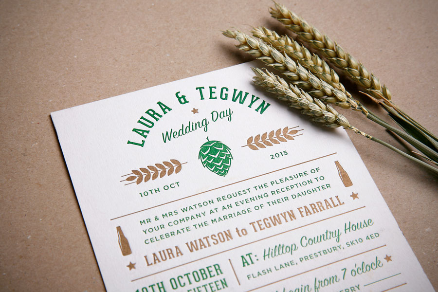 craft beer letterpress wedding invitation