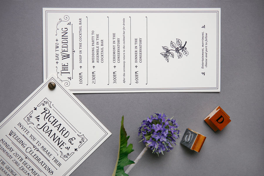 wedding itinerary and invitation