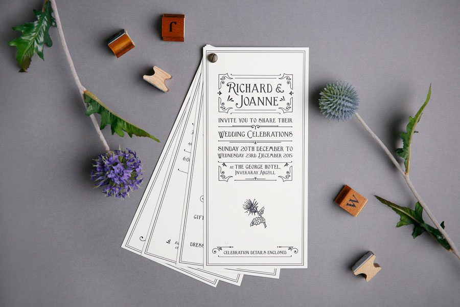 Rustic Scotland Wedding Invitation & Itinerary