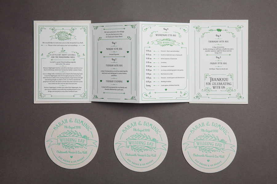 Wedding Itinerary and Beer Mats