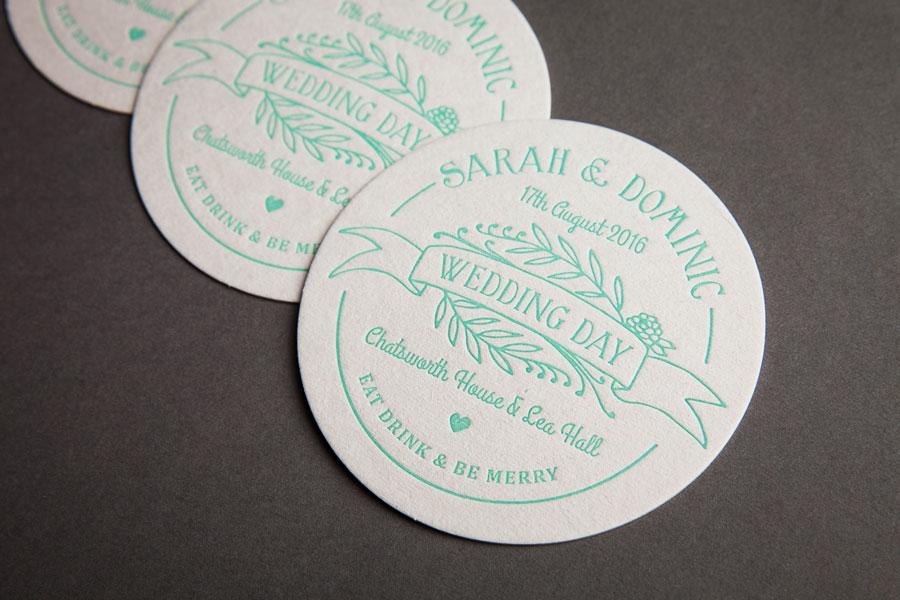 letterpressed wedding beer mats