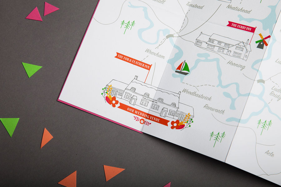 Fold out map wedding invitation detail of inside