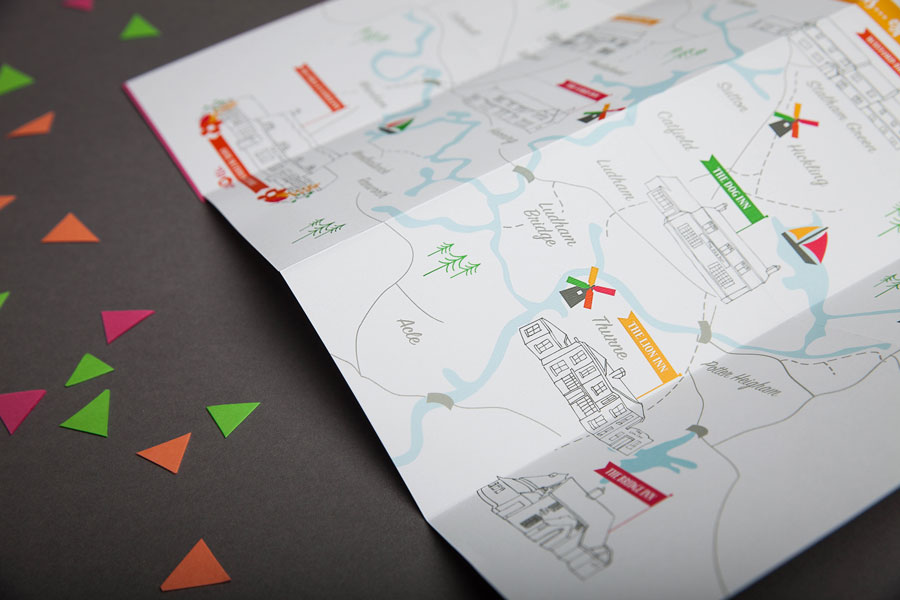 Fold out map wedding invitation inside